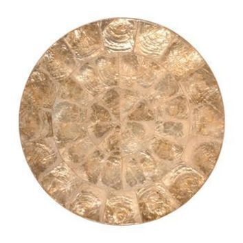 Round Capiz Placemats S/4  | Champagne