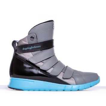 Grey, Black, Aqua Prime Trainer Hightop Shoes For Bodybuilding