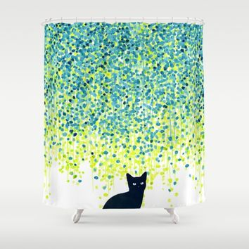 Cat in the garden under willow tree Shower Curtain by Picomodi