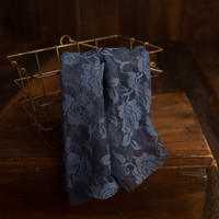 Navy Blue Maternity and newborn stretch floral lace wrap, photography prop 18 x 60