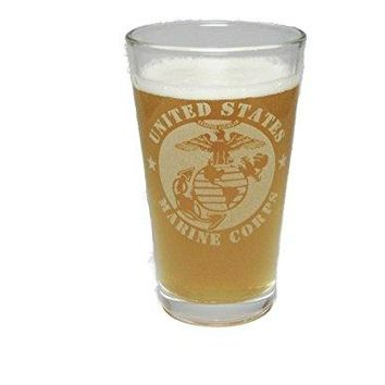USMC - Marine Corps - Engraved Beer Glass Pint - 16 oz - Permanently Etched - Fun & Unique Gift!