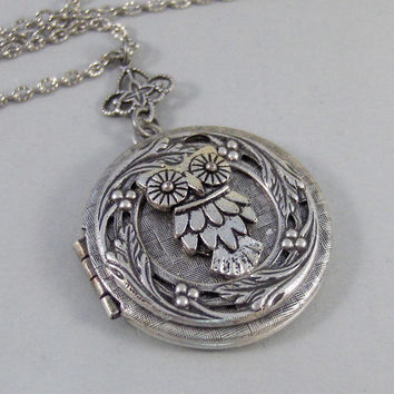 Little Hoots,Owl,Locket,Silver Locket,Silver Necklace,Owl,Silver,Woodland,Antique Locket. Handmade jewelry by valleygirldesigns.