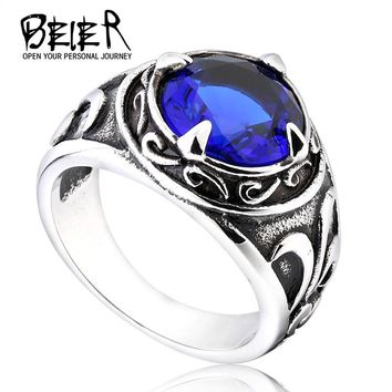 2017 New Vintage Man Woman Blue Stone Fashion Retro Cool Jewelry Stainless Steel Ring