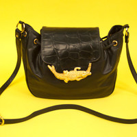 Vintage Alligator Purse Shoulder Bag Black Genuine Leather Gold Crocodile Applique 80's Bags By Pinky Made in U.S.A.