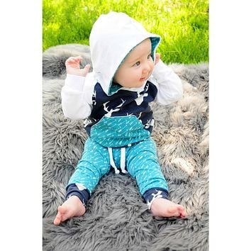 Newborn Infant Baby Boy Girl Deer Arrow Hoodie Tops+Pants Outfits Clothes Set