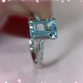 Solid 14K White Gold 6x8mm VS Aquamarine Ring Diamonds Wedding Ring Engagement Ring Emerald   Aquamarine Ring
