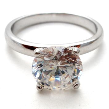 Sterling Silver 2 Ct Ring Cubic Zirconia