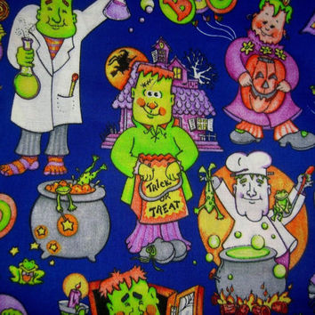 Halloween fabric with Frankenstein Trick or treat Haunted House pumpkin cotton quilt print quilting sewing material to sew craft by the yard