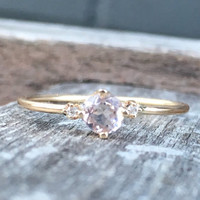 14k Morganite Diamond Ring, Hint of Pink Ring, Dainty Diamond Ring, Engagment Ring, Promise Ring, Gemstone Ring, Pink Stone Ring