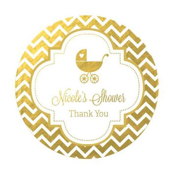 Personalized Metallic Foil Round Favor Labels - Baby