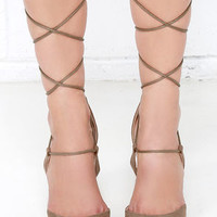 Rise Above Taupe Suede Lace-Up Heels
