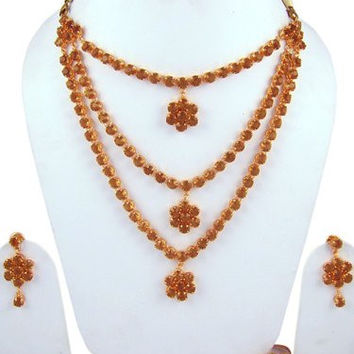 Designer Bridal Jewelry Set 3 Strand Gold Tone Crystal Rhinestone Necklace and Earrings Set
