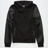 Brooklyn Cloth Grindin Mens Faux Leather Sleeve Hoodie Black  In Sizes