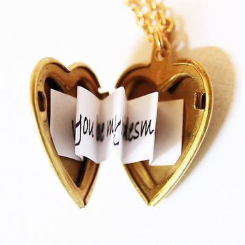 Heart Locket - Secret Message Locket - Customized with your personal message