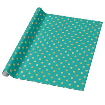 Elegant Polka Dots -Mint & Gold- Wrapping Paper