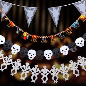 DCCKF4S New Paper Pumpkin Bat Ghost Spider Skull Shaped  Chain Garland Party Decorations Flags Bunting Halloween Decor Garland Banners
