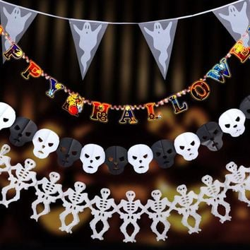 ONETOW New Paper Pumpkin Bat Ghost Spider Skull Shaped  Chain Garland Party Decorations Flags Bunting Halloween Decor Garland Banners