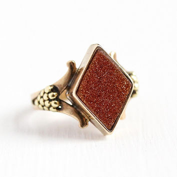 Antique Goldstone Ring - Vintage Victorian 10k Rosy Yellow Gold - Size 5 3/4 Vintage Copper Aventurine Glass Fine Grape Cluster Jewelry