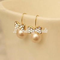 HOT 1 pair Fashion Elegant Sweet Bow Bowknot Bowtie Ear Stud Earrings Wholesale