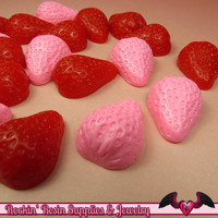 Pink/Red STRAWBERRY Kawaii Cabochons / Decoden Resin Cabochons (6 pieces) 24x18mm