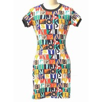 Stylish Round Neck Short Sleeve Bodycon Colorful Letter Pattern Dress For Women