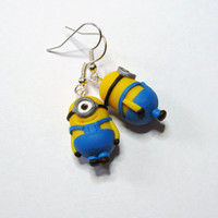 Minion polymer clay earrings from the movie Despicable Me, surgical steel wire
