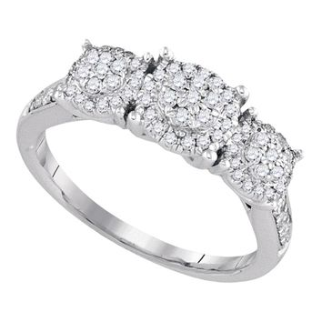 14k White Gold Flower Cluster Diamond Womens Bridal Wedding Engagement Ring 1/2 Cttw