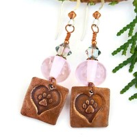 Dog Rescue Heart and Paw Print Earrings, Pink Lampwork Swarovski Handmade Dangle Jewelry