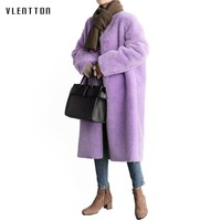 2018 New Korea Style Warm Winter Faux Fur Coat Women Elegant purple Soft Long Jacket Female Casual Autumn Coat Outerwear