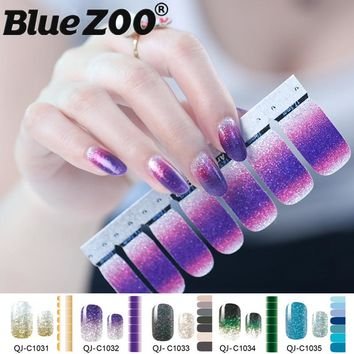 1PC Gradient Color Glitter Powder Stickers Nail Wraps DIY Full Cover Nail Vinyls Water Decals Nails Sticker Art Decorations