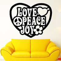 Wall Stickers Vinyl Decal Peace Love Joy Hippie Pacifism Good Decor (ig1768)
