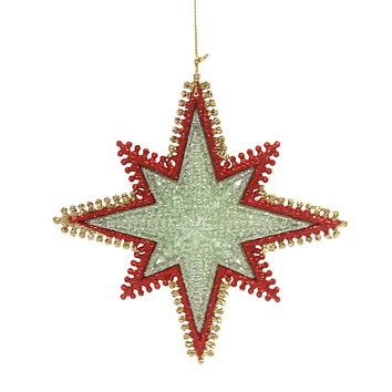 Holiday Ornaments STARBURST WIRED EDGING Plastic Red Gold Silver T2443 Green