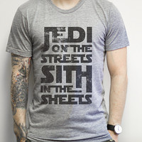 Jedi on the Streets Sith in the Sheets, Athletic Grey Tee - Star Wars shirts, funny, nerdy, sci fi, space, pun, geek, shirt, clothing, tee,
