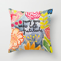 Wake with Gratitude Throw Pillow by Evelyn Henson