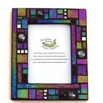 Mosaic Picture Frame, 5 x 7 Picture Size, Black + Iridescent + Silver Mirror + 3D Nuggets Handmade Stained Glass Mosaic Picture Frame