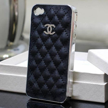 chanel iphone case -- black leather iphone 4 case -- iphone 4s case -- iphone cover -- case for iphone 4