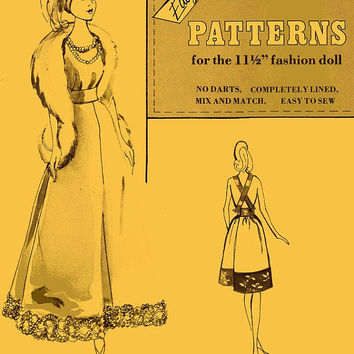 1970s Vintage Retro Doll Clothes Sewing Patterns Pattern Book Barbie Coat Gown Dress Skirt 50s 40s Styles Accessories