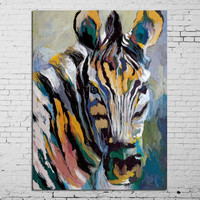 100% of hand-painted oil painting zebra horse in all modern abstract art family adornment art wall without frame