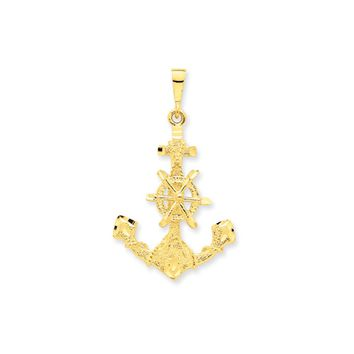 14k Yellow Gold Large Satin Anchor with Wheel and Rope Pendant