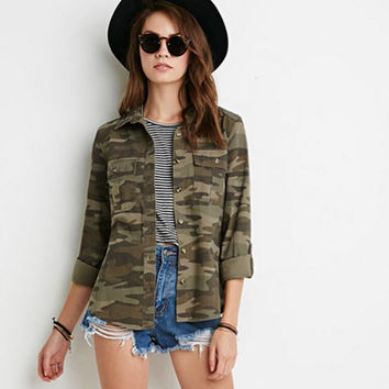 Army Green Camo Print Button Down Jacket