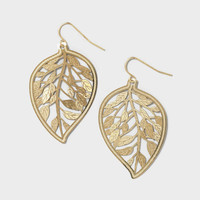 Gold Cutout Leaf Drop Earrings