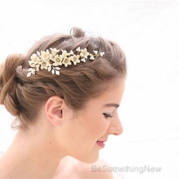 Pearl and Flower Vintage Inspired Wedding Hair Vine in Ivory, Hand painted Ivory Flower Bridal Headpiece, Beaded Wedding Hair Jewelery
