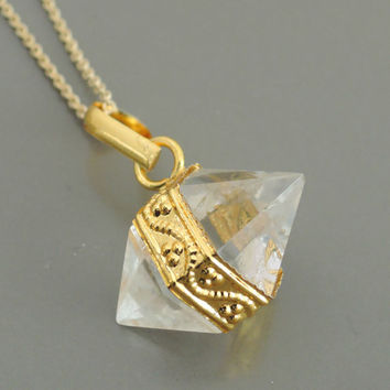 Mystic Quartz Necklace - Raw Crystal Quartz Necklace - Gold Necklace - Bohemeian Necklace - handmade jewelry