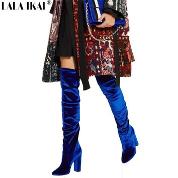 LALA IKAI Winter Boots Platform High Heels Blue Velvet Shoes For Woman Over The Knee High Stretch Boots Casual Outfit 600N1639 4