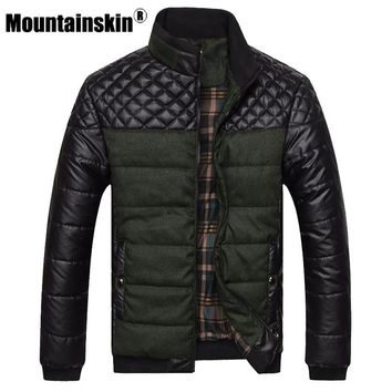 Trendy Winter Jacket Mountainskin Brand Men's s and Coats 4XL PU Patchwork Designer s Men Outerwear Winter Fashion Male Clothing SA004 AT_92_12