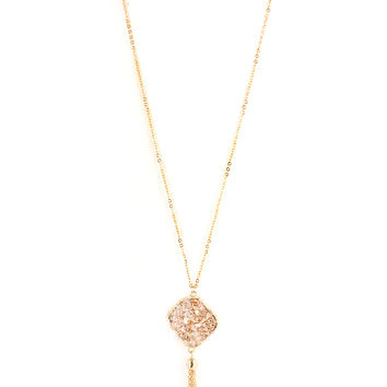 Rose Gold Long Druzy Stone Tassel Necklace