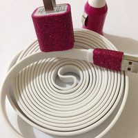Customized Glitter I Phone 4/4S I Phone 5 XXL flat noodle charger in different color glitter and charger of your choice .