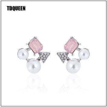 TDQUEEN Opal Crystal Earrings Simulated Pearl Stainless Steel Stick Earing Jewelry Gift Korean Style Fashion Women Stud Earring