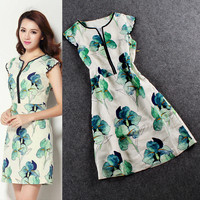 Digital Petal Print Scallop Cap Sleeves  Empire Waist Mini Dress