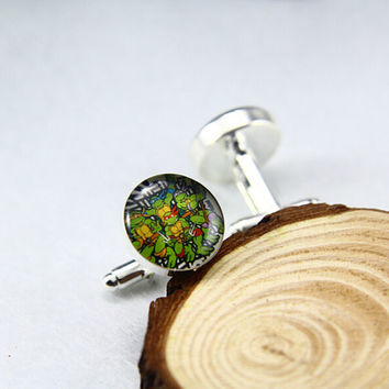 Turtle Cufflinks,Ninja Turtle Cufflinks, Custom Photo/image /TEXT.Groomsmen, Father of the Bride/Groom Cufflinks